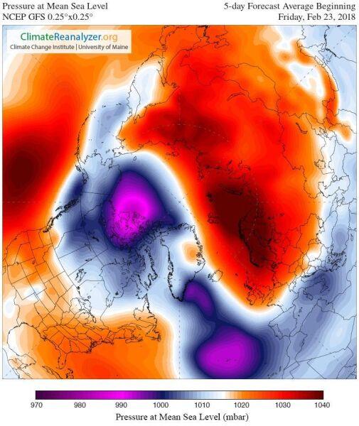 Prognoza średniego ciśnienia na najbliższe 5 dni (GFS/University of Maine)
