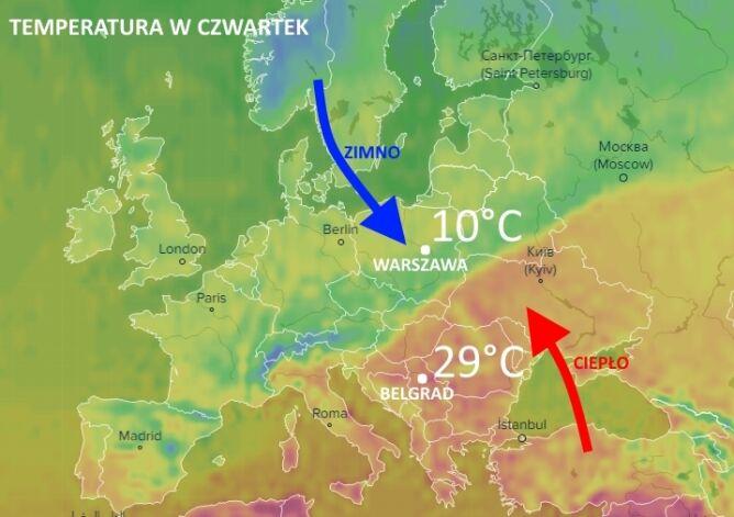 Wyraźnie widoczna granica między ciepłą a zimną masą powietrza