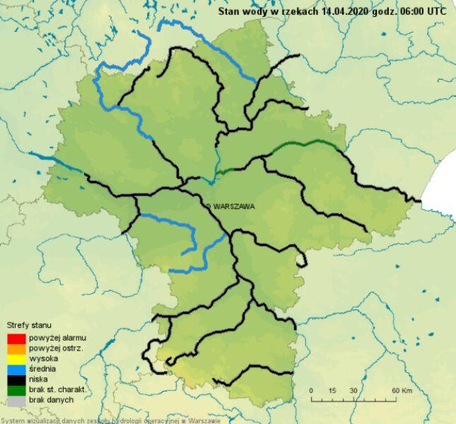 Sytuacja hydrologiczna na Mazowszu 14 marca (twitter.com/IMGWmeteo)