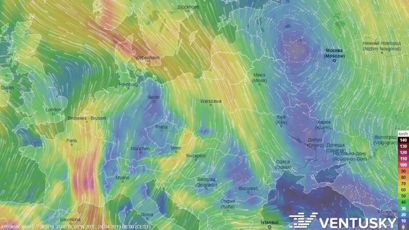 Prędkość wiatru na wysokości 2500 kilometrów w środę około godziny 8 (Ventusky.com)