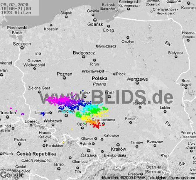 Ścieżka burz w godzinach 19-21 (blids.de)